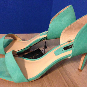 Zara mint green strappy suede d'orsay mid heels